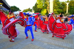 Spirited dance. Mexican people spectacular dance at Varna square,Bulgaria during Parade of 23rd International Folklore Festival participants.August 3rd 2014 Stock Images