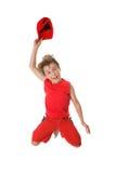 Spiritied Happy Boy Jumping Stock Photos