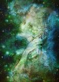 Spirito delicato del elve che cerca il cielo dello starlitt, illustrazione Immagine Stock
