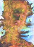 Spirito della natura - il profeta del vento con le piume, disegnanti Immagini Stock Libere da Diritti