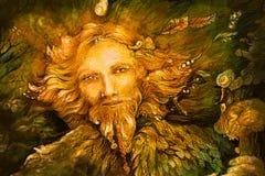 Spirito di guardiano leggiadramente della foresta dorata, illustrazione dettagliata Immagine Stock