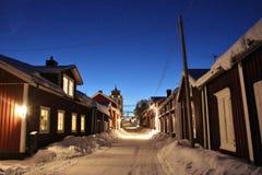 Spirito di Natale nella città della chiesa di Gammelstad Immagine Stock
