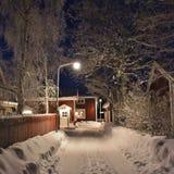 Spirito di Natale nella città della chiesa di Gammelstad Immagini Stock