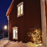 Spirito di Natale nella città della chiesa di Gammelstad Fotografie Stock