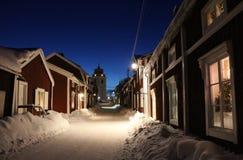Spirito di Natale nella città della chiesa di Gammelstad Immagini Stock Libere da Diritti