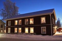 Spirito di Natale nella città della chiesa di Gammelstad Fotografie Stock Libere da Diritti