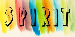 Spirito di parola sul fondo astratto dipinto a mano dell'acquerello Fotografie Stock Libere da Diritti