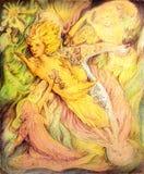 Spirito dorato volante del sole e scrittori cosmici, dettagliati Fotografie Stock