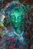 Spirito leggiadramente con gli ornamenti della foglia, collage di fantasia verde dell'illustrazione Fotografia Stock Libera da Diritti