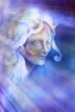 Spirito leggiadramente di bello angelo nei raggi di luce, illustrazione Immagine Stock