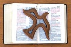 Spirito Santo o fantasma sulla bibbia aperta a Luke Fotografie Stock Libere da Diritti