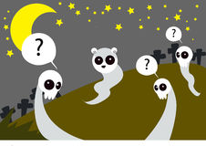 The Spirits. Image of the spirits which haunt on Halloween night in the cemetery Stock Photos