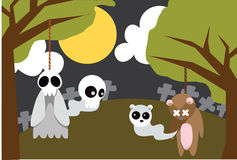 The spirits from the Body. Image of ghost and teddy bear who spirits from the body on Halloween night Stock Images