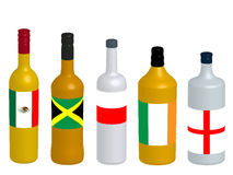 Spirits Bottles with Flags 3D version 2 Stock Photography