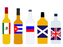 Spirits Bottles with Flags version 1 Royalty Free Stock Photos