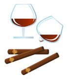 Spirits and Cigars. Clip-arts spirits and cigars stock illustration