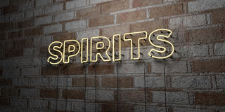 SPIRITS - Glowing Neon Sign on stonework wall - 3D rendered royalty free stock illustration. Can be used for online banner ads and direct mailers Royalty Free Stock Photography