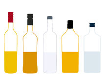 Spirits Half Full Bottles Illustration Stock Photography