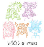 The spirits of nature. Set of characters - the spirits of nature - water, forests, plants, animals fairies - hand drawing vector illustrations Stock Photography