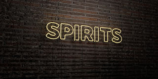 SPIRITS -Realistic Neon Sign on Brick Wall background - 3D rendered royalty free stock image. Can be used for online banner ads and direct mailers Stock Images