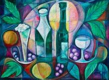 Spirits in the Vineyard. Fine are cubist painting of fruit and spirits in the vineyard Stock Photo