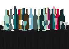 Spirits and wine bottles. Background of spirits, wine bottles and glasses with copy space vector illustration
