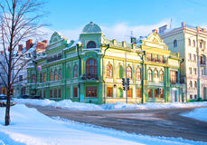 Spiritual Administration of Muslims of Kazan. Green Building on a winter street. Russia Stock Image