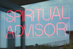 Spiritual Advisor. A spiritual advisor neon sign Royalty Free Stock Images