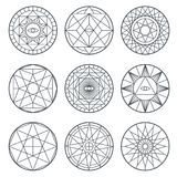 Spiritual alchemy vector symbols. Medieval geometry sacred vector logos Royalty Free Stock Photo