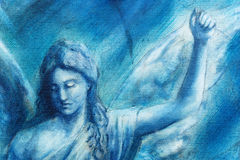 Spiritual Angel painting on canvas with blue abstract background. Royalty Free Stock Photos