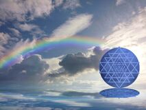 Free Spiritual Background For Meditation With Sri Yantra In Clouds Sky Background With Rainbow Stock Photos - 179785283