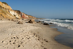 Spiritual Beach on Martha's Vineyard. Moshup Beach is frequented by many tourists who desire a spiritual connection with the land. It lies in the Native American Stock Photos