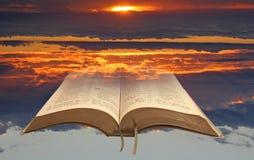 Spiritual bible light open holy book stock image