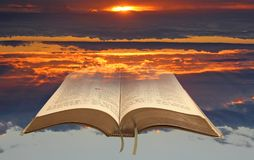 Spiritual bible light open holy book stock image