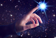 Spiritual cosmic touch royalty free stock photo