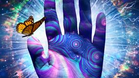 Butterfly on Hand of God. Spiritual digital art. Butterfly on Hand of God