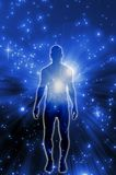 Spiritual energy. Illustration with male silhouette against a space background as concept for spiritual energy Stock Photo