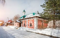 Spiritual and Enlightenment Center. `Transfiguration` in Borisoglebsky Monastery in Dmitrov in a Winter Day stock images