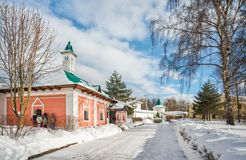 Spiritual and Enlightenment Children Center. `Transfiguration` in Borisoglebsky Monastery in Dmitrov in a Winter`s Day Stock Images