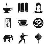 Spiritual equilibrium icons set, simple style. Spiritual equilibrium icons set. Simple set of 9 spiritual equilibrium vector icons for web isolated on white Stock Photography