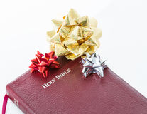 Spiritual Gift .The Bible, Word of God as Valuable Present. Spiritual present. Transmitting religion through a valuable gift. The Bible, the Word of God given to Stock Photos