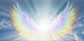 Free Spiritual Guidance, Angel Of Light And Love Doing A Miracle On Sky, Rainbow Angelic Wings Stock Photos - 164635473
