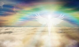 Free Spiritual Guidance, Angel Of Light And Love Doing A Miracle On Sky, Rainbow Angelic Wings Royalty Free Stock Photos - 177742158
