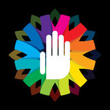 Spiritual hand on colorful background Royalty Free Stock Photography