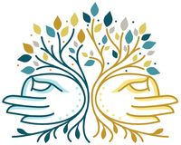 Spiritual Hands Tree. Modern line-drawn tree combined with two spiritual meditating hands vector illustration