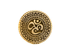 Spiritual hindu om sign wooden carved seal Royalty Free Stock Images