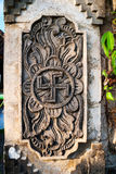 Spiritual hindu symbol -swastika on the temple Stock Images