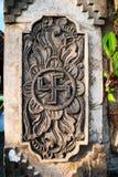 Spiritual hindu symbol -swastika on the temple Stock Images