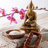 Spiritual inner beauty bath with buddhism, meditation and massage Royalty Free Stock Image