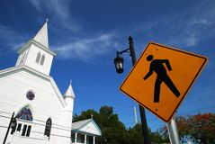 Spiritual Journey. The road sign with Key West town church in a background (Florida Stock Images